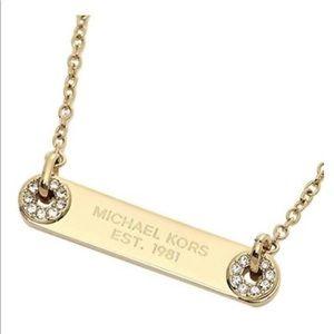 Michael Kors Crystal Gold Bar Necklace